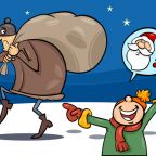 Cartoon Illustration of a Little Boy who mistook the Thief with Santa Claus