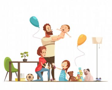 young-family-with-kids-home-playing-with-baby-boy-little-girl-retro-cartoon-poster_1284-20469